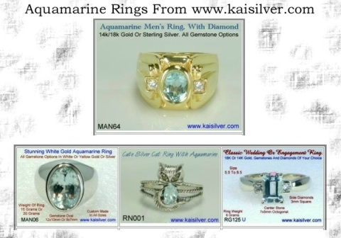 aquamarine gem stone rings, custom aquamarine jewellery