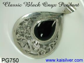 antique onyx pendant, sterling silver