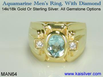 gem stone ring for men, yellow or white gold mens rings