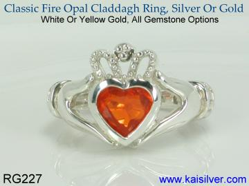 Fire opal claddagh birth stone ring, gold or sterling silver