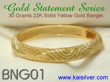 gold or sterling silver custom made bangle