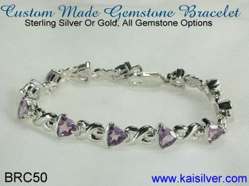 white gold bracelet with amethyst or any other gemstone