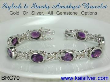 Amethyst Bracelet Gold Or Sterling Silver Bracelets With Amethyst Gems
