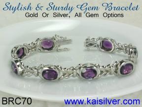 custom bracelet with gem stone