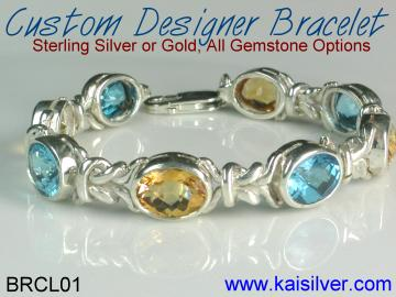 custom bracelet with gem stone in sterling silver or white or yellow gold
