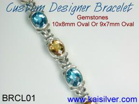 custom design bracelet with oval gem stones