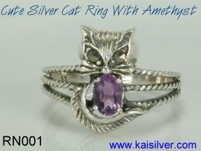 sterling silver cat ring with gem stone amethyst