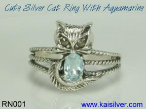 silver cat ring birth stone