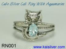 aquamarine birthstone mother ring, silver cat ring