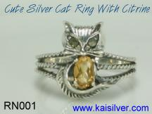 sterling silver cat ring with gem stone of your choice