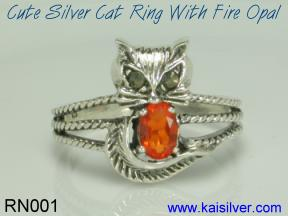cat ring fire opal gem stone made to order