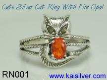 custom sterling silver fire opal ring