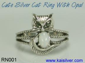 opal gem stone cat ring silver