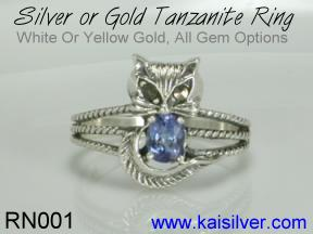 sterling silver cat ring, tanzanite silver ring