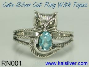 custom silver ring, cat ring in sterling silver of gold