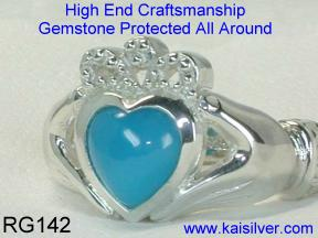 Turquoise claddagh rings