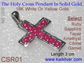 custom gold or silver cross pendants with gemstone