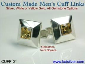 male custom made cuff links, white or yellow gold and even sterling silver