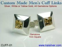 custom gem stone square man cuff link