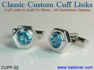 custom cuff link in sterling silver or gold