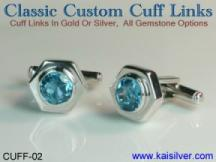 cufflinks with gem stone, blue topaz gem stone cuff links made to order