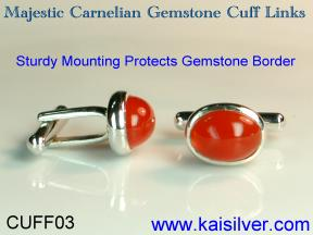 gem stone silver cuff links made to order
