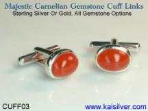 carnelian cufflinks gold or 925 sterling silver