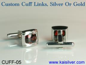 gold or sterling silver cuff link with gemstone