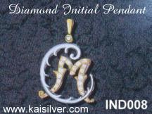 initial pendant with diamonds