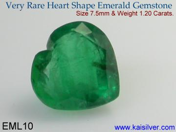 Heart shaped emerald gem stone