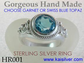 Handmade Silver Rings With Round Gemstones
