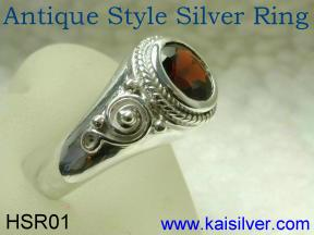 Custom silver ring, antique style made in Thailand