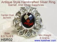 handmade silver ring with gem stones