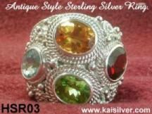 Multi gem stone silver ring custom handmade