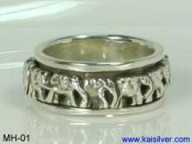 Silver wedding band for men