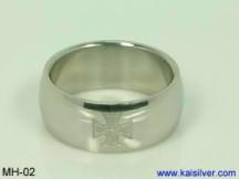mens wedding band, cross wedding band for men gold or 925 silver