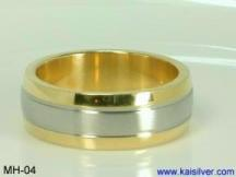 gold wedding rings for men, two tone wedding band