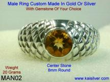 sterling silver man ring with gem stone citrine