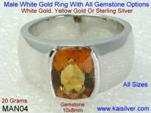 men's white gold ring with citrine