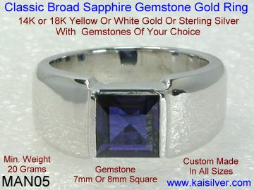 man sapphire gem stone ring made to order
