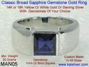 white gold wedding ring for men, blue sapphire wedding band for men
