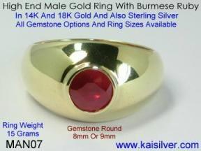 gents ruby gem stone ring