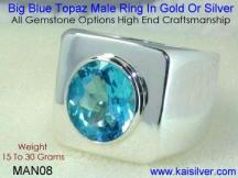 men's fashion jewelry, blue topaz ring