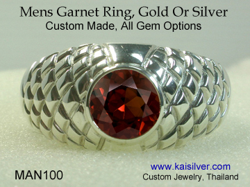 mens gold or 925 sterling silver garnet gemstone ring
