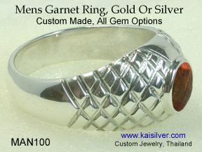garnet gemstone ring for men