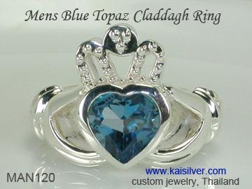 mens topaz claddagh ring, gents blue topaz rings