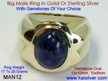 Sodalite Gold Ring For Men