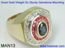 Saphire, Ruby Man Gold Ring