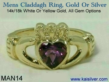 mens claddagh ring kaisilver gold or sterling silver