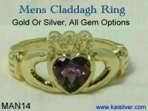 Claddagh Ring For Men, With Gemstone